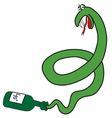 Cartoon green snake from the bottle vector image