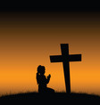 child silhouette on cementary design vector image vector image