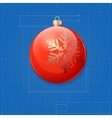 Christmas ball symbol like blueprint drawing vector image