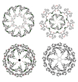 Circle ornaments floral set - hand drawn vector image vector image