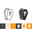 coffin simple black line halloween icon vector image