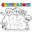 coloring book school numbers vector image vector image