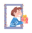 cute boy looking out window kid giving or vector image vector image