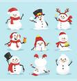 cute christmas snowmen flat vector image vector image