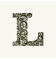 Elegant capital letter L in the style Baroque vector image vector image
