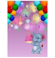 Elephant cartoon holding birthday cake vector image