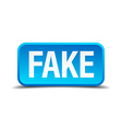 fake blue 3d realistic square isolated button vector image vector image