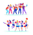 fans cheering horizontal sets vector image vector image