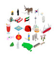 far east icons set isometric style vector image vector image