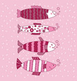 fish editable set pink monochromatic vector image vector image