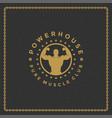 fitness gym logo or emblem vector image
