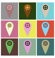 flat icons set pointer cinema vector image vector image