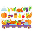 food for thanksgiving dinner on the holiday table vector image