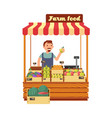 fruit and vegetable market shop stand with happy vector image vector image