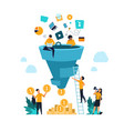 funnel leads generation attracting followers vector image vector image