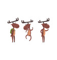 funny deer set brown moose humanized character vector image