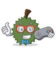 gamer durian mascot cartoon style vector image
