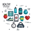 healthy lifestyle concept elements sport vector image