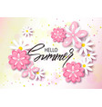 hello summer background with beautiful flowers vector image vector image