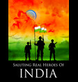 indian soldier standing on tricolor flag of india vector image vector image