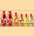 juice bottles with fruits lables mockup vector image