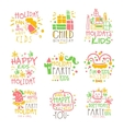 Kids Birthday Party Entertainment Promo Signs vector image vector image