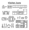 kitchen icon set in thin line style vector image