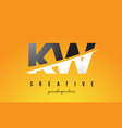 kw k w letter modern logo design with yellow vector image vector image