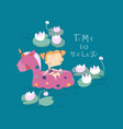 little cute girl is relaxing in a big swimming vector image vector image