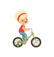 lovely little girl riding bike kids physical vector image