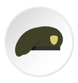 Military green beret icon flat style vector image vector image