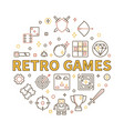 retro games round in outline vector image vector image