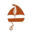 sailboat sea with anchor vector image vector image