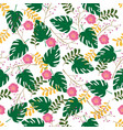 seamless pattern floral and leaves stylish vector image