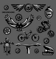 set of black and white elements on a mountain bike vector image