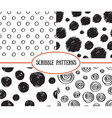 set stylish hand drawn polka dot seamless vector image vector image