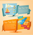 set summer banners yacht mask coconut vector image vector image