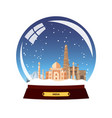 snow globe city india in snow globe winter vector image