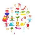 solemnization icons set cartoon style vector image vector image