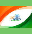 stylish indian republic day wavy background design vector image vector image
