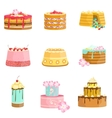 Sweet Party Layered Cakes Assortment vector image