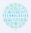 technologies concept in circle with thin line icon vector image vector image