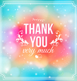 Thank you card on soft colorful background vector image vector image