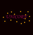 unicorn horn fairy lettering object vector image