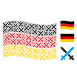 waving germany flag pattern of crossing swords vector image vector image