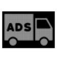 white halftone advertisement van icon vector image