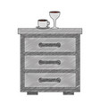wooden drawer with cup of coffee and cup wine icon vector image