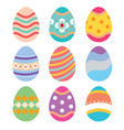 set of easter eggs flat design on white background vector image