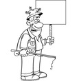 Cartoon fisherman holding a sign vector image