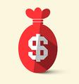 Flat Design Money Bag with Dollar Sign vector image